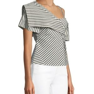 Theory Tops - Theory Bryson Striped One-Shoulder Fold-Over Top